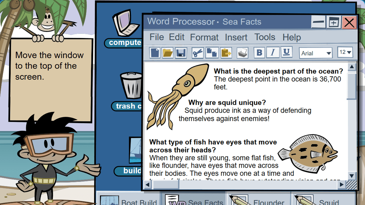 Shown the window of a word processor on a computer desktop, the student is asked to drag the window to the top of the screen