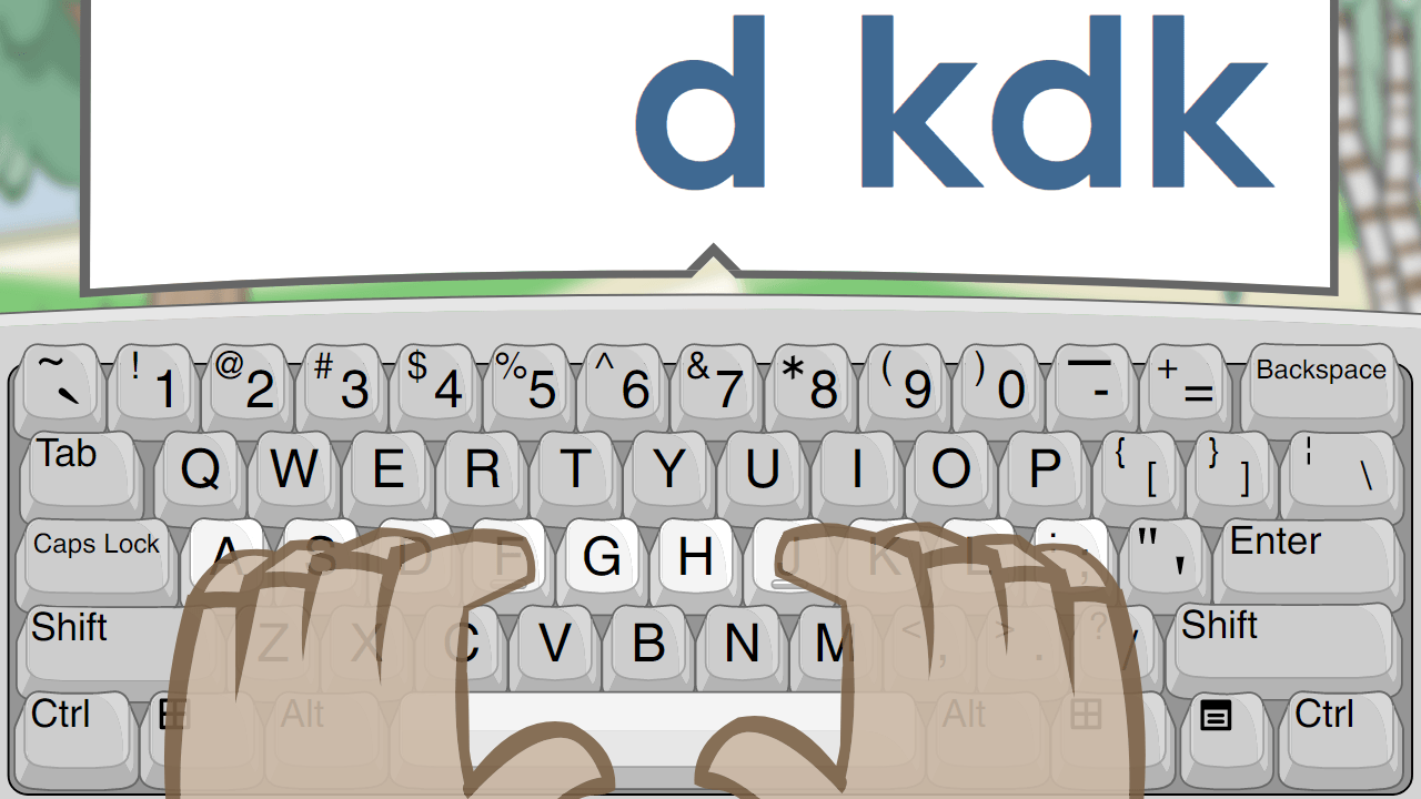 Shown hands placed on the home row of a keyboard, the user is asked to type D and K using the second finger of each hand