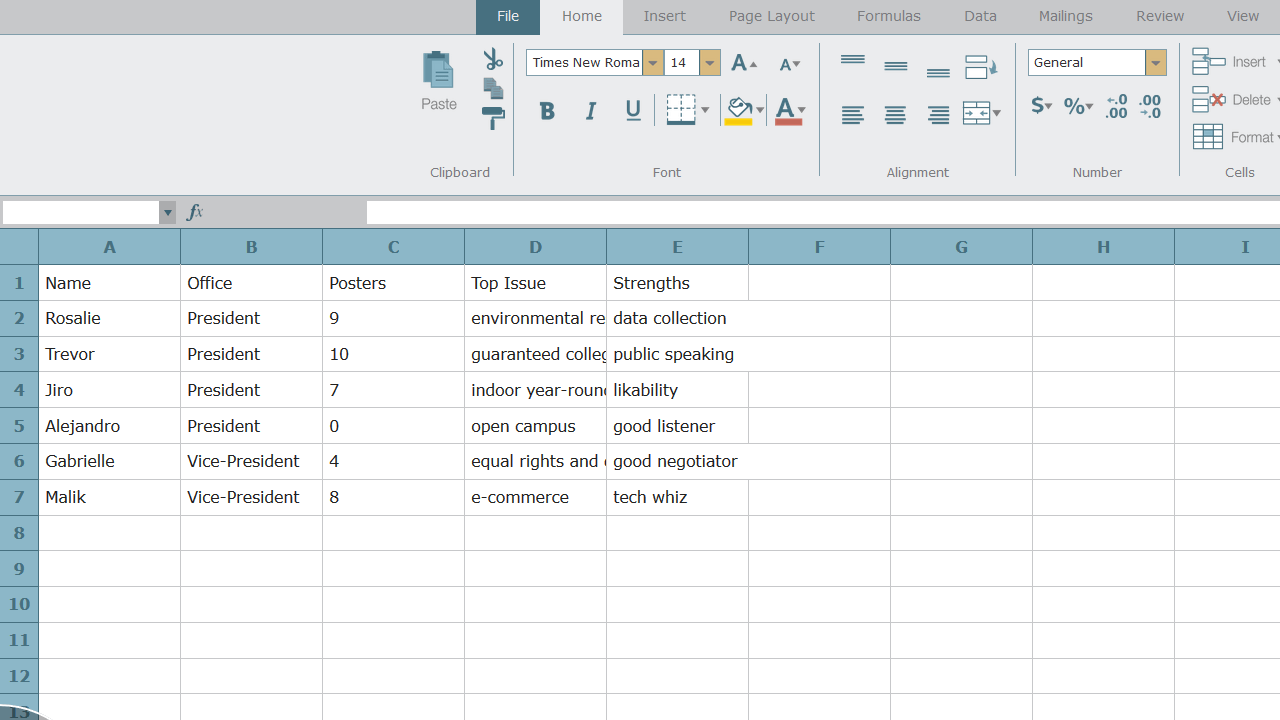 Shown a spreadsheet, the student is asked to resize column D by double-clicking the far right line of the column header