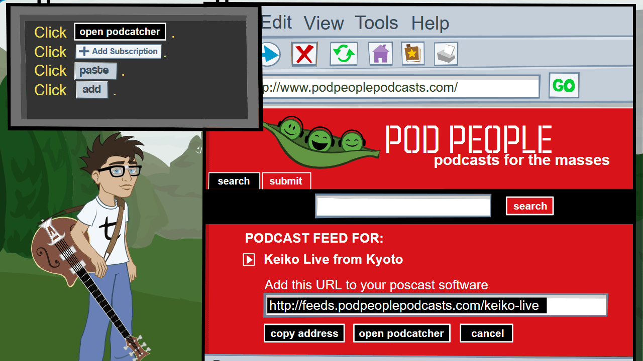 Shown a podcasts hosting website, the student is asked to subscribe to a podcast feed