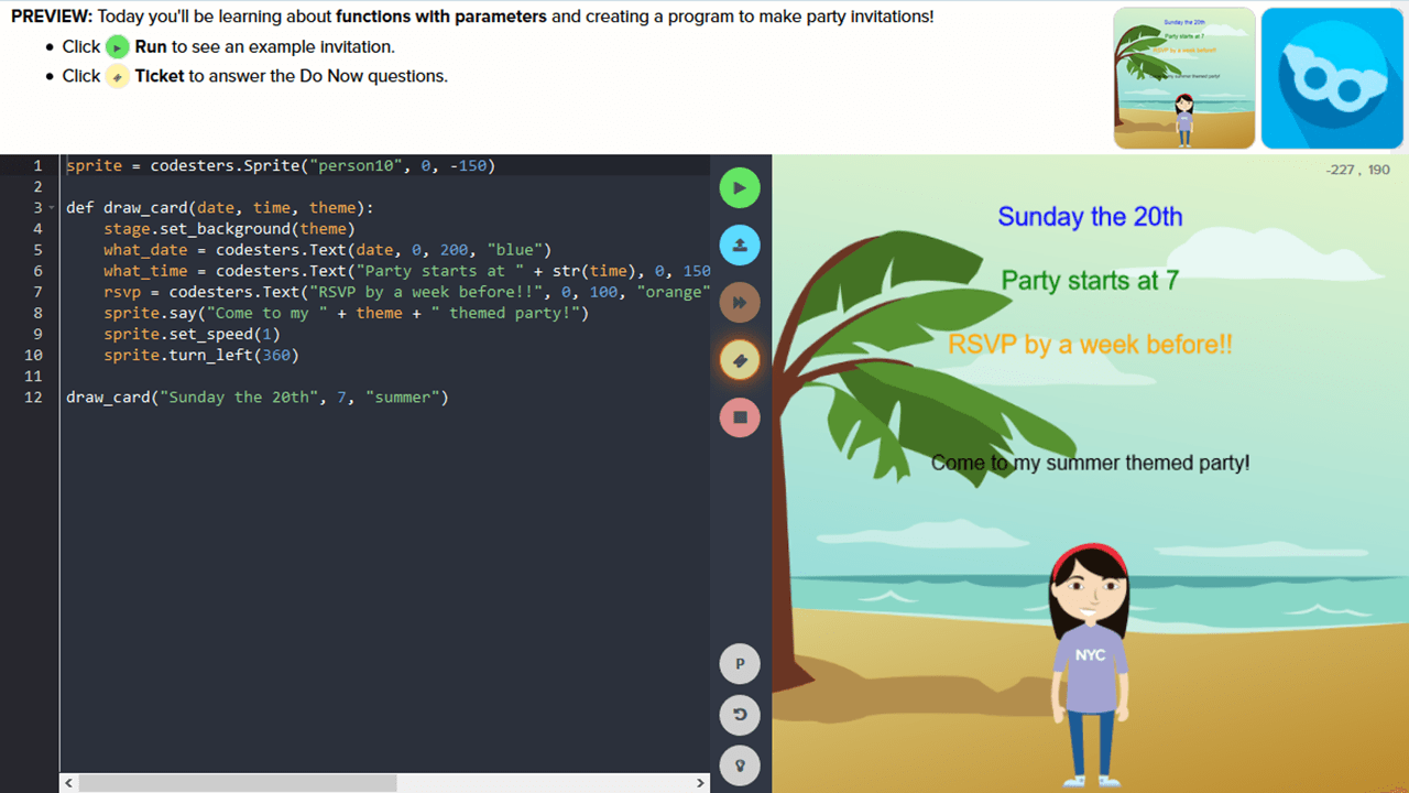 Shown sample code and the resulting image, the student is asked to create party invitations using functions with parameters