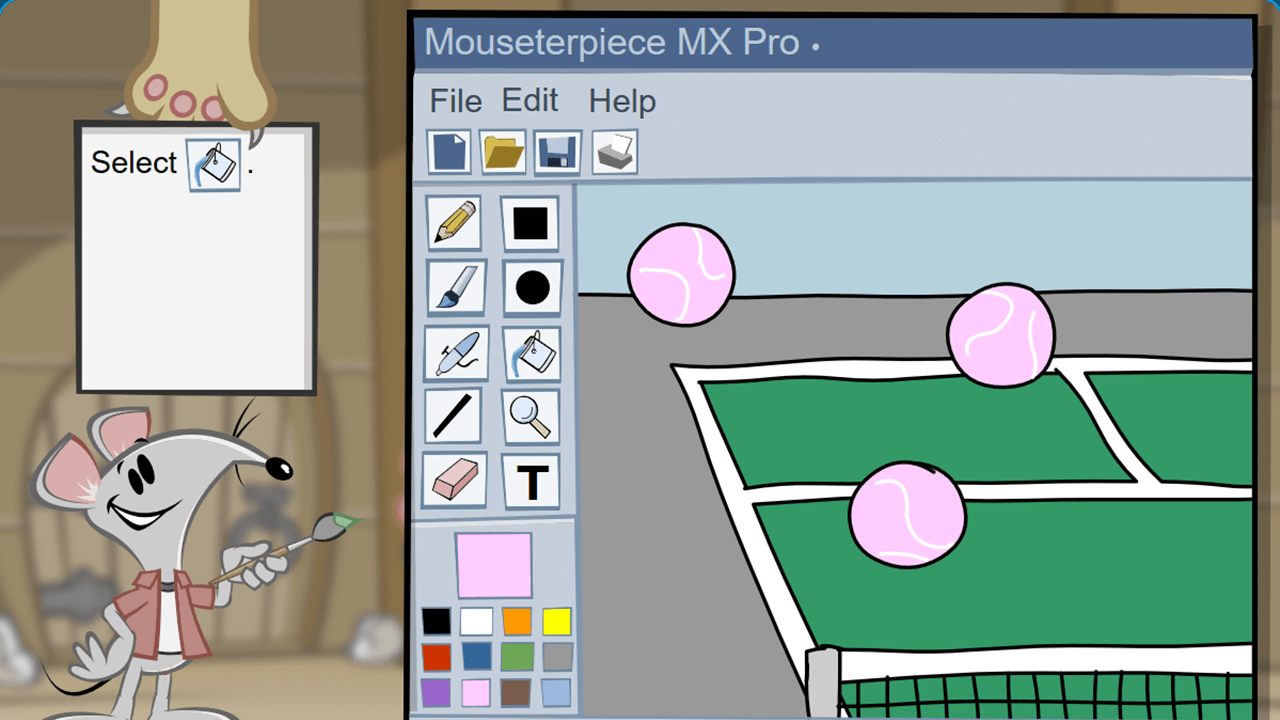 Shown a tennis court and 3 pink balls in a graphics program, the student is asked to select the fill tool