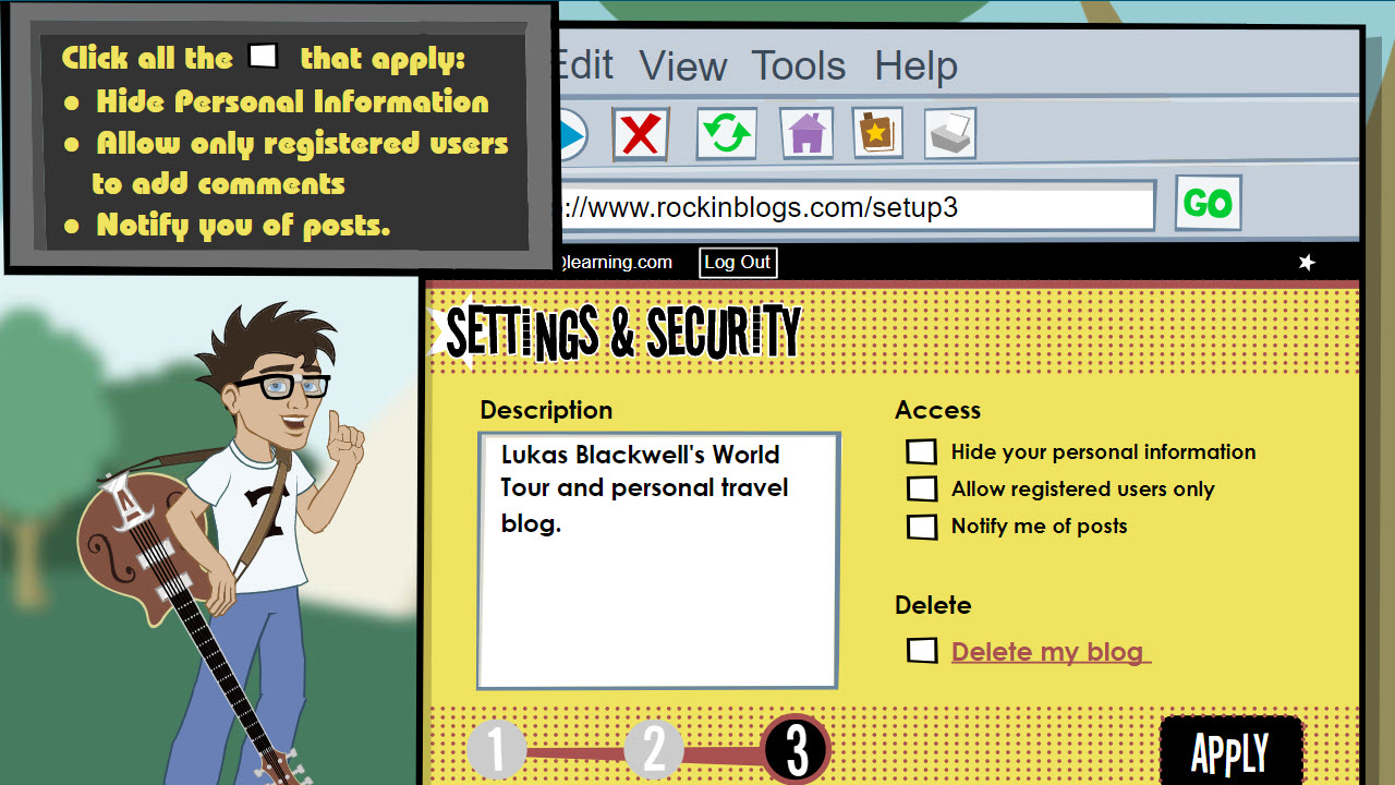Student is shown the blog security screen and asked to click check-boxes to improve information security
