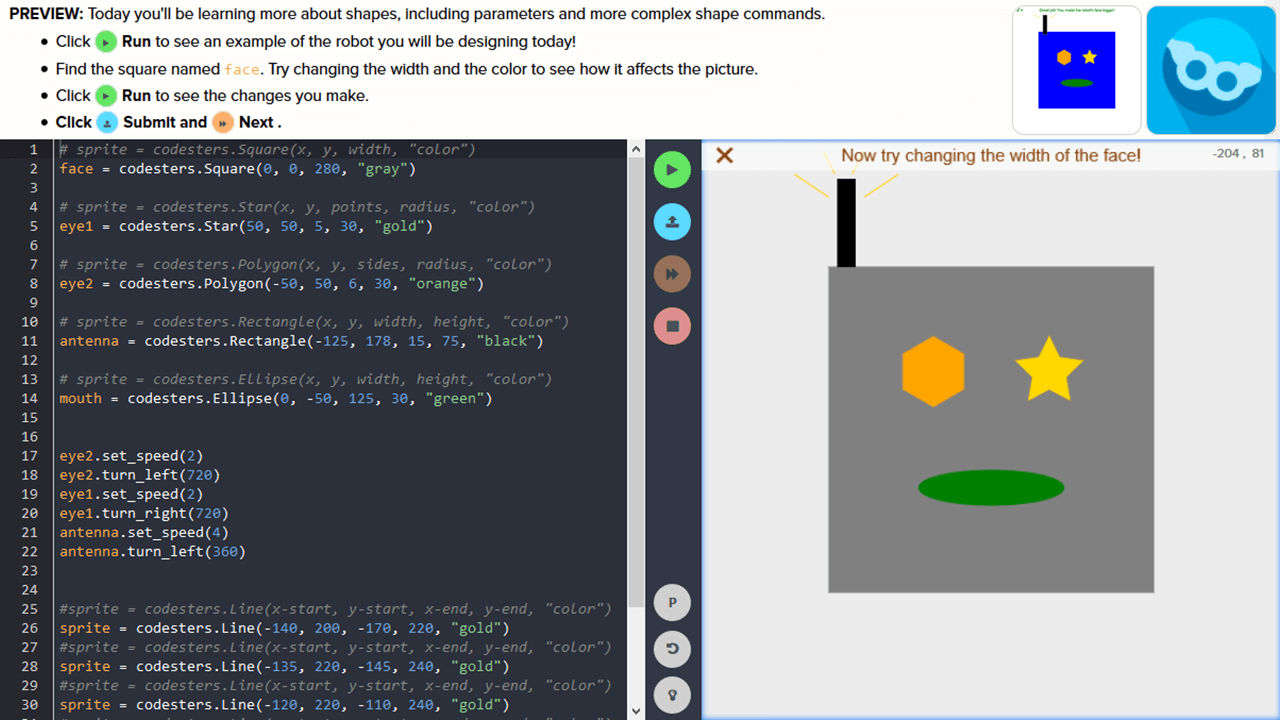 The student is asked to update the code using command parameters to adjust shapes