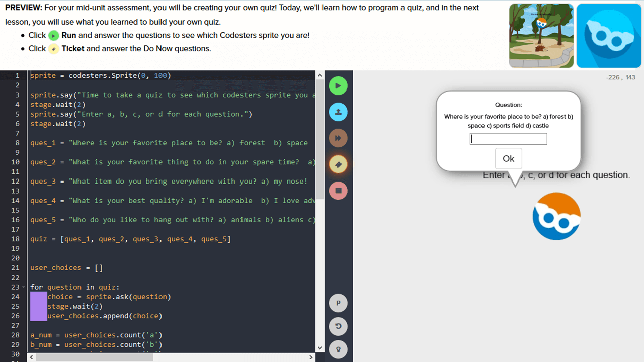 The student is asked to use code to create and program their own quiz