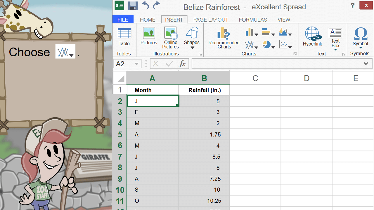 Shown a spreadsheet, the student is asked to select the line chart tool