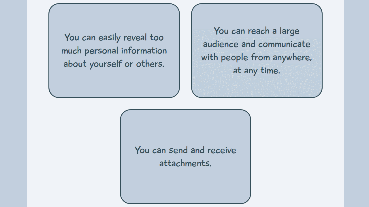 Given 3 statements, the student is asked to select the 1 that represents a benefit of online communication