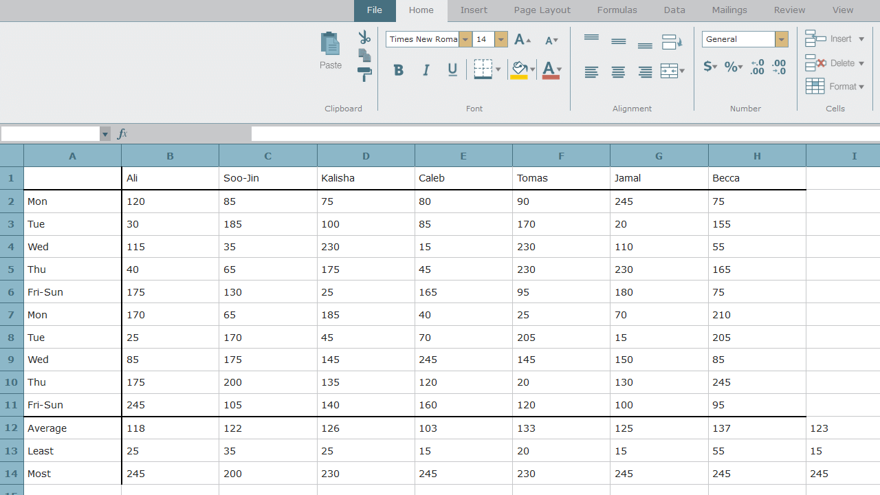 Shown a spreadsheet, the student is asked to bold the font in cells I12 through I14