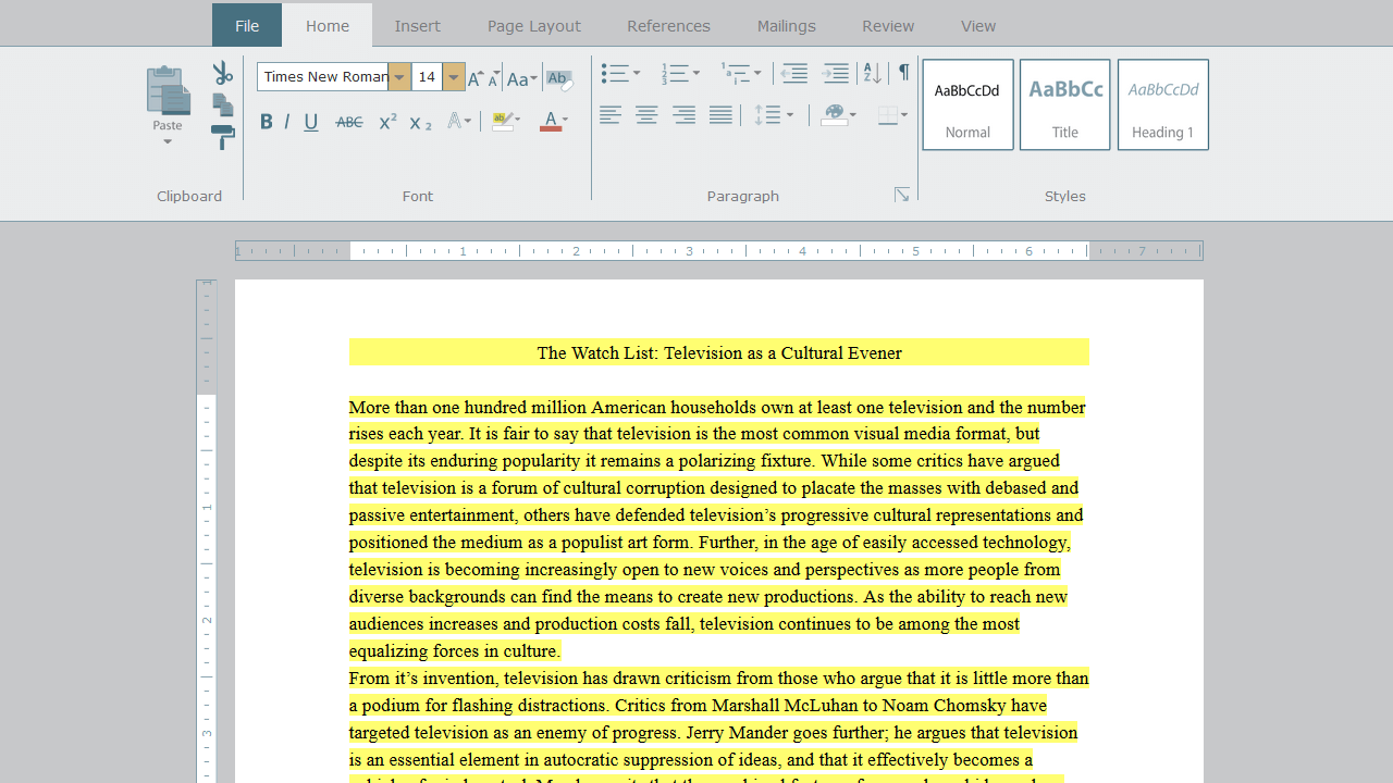 Shown highlighted text in a word processing document, the student is asked to double the line spacing