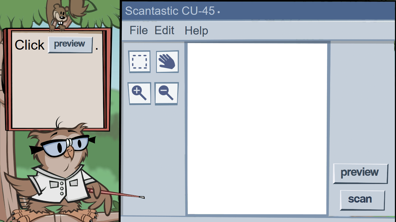 Shown a scanner utility, the student is asked to preview an image using the Preview button